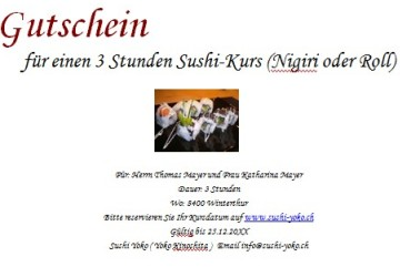 3-hour sushi class for 1 person