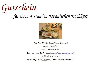 Japanese cooking class for 2 persons