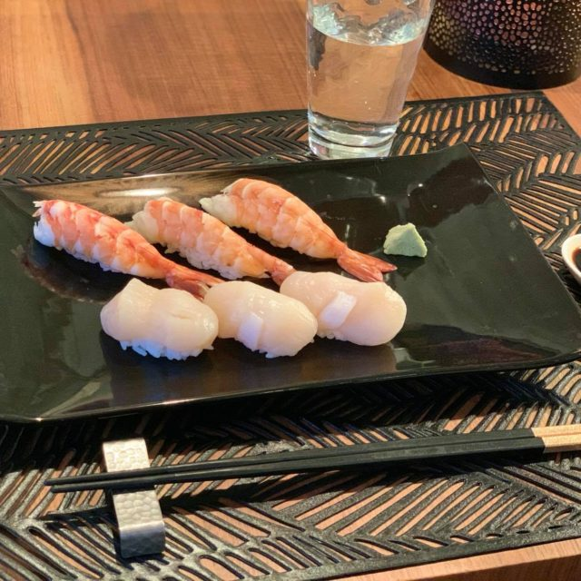 Nigiri sushi with scallops and shrimp