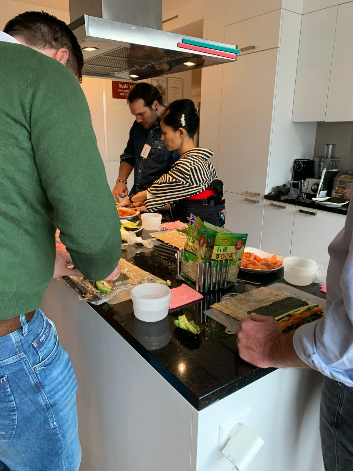 inside-out roll sushi class in November 2019