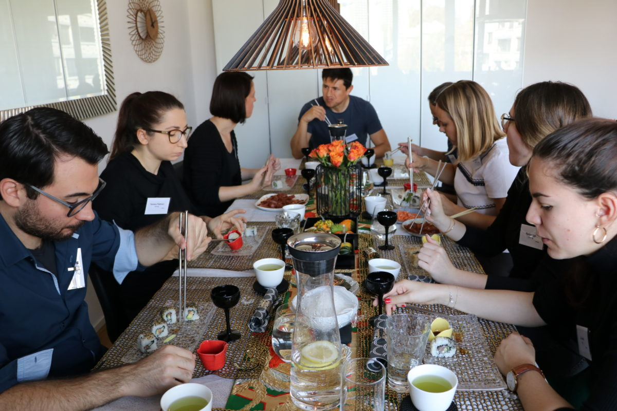 inside-out roll sushi class in October 2019