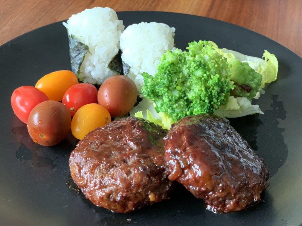 Teriyaki Hamburger with Onigiri