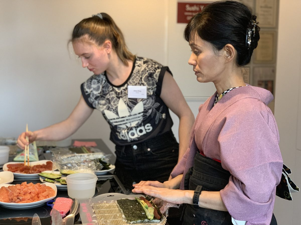 inside-out roll sushi class in December 2019