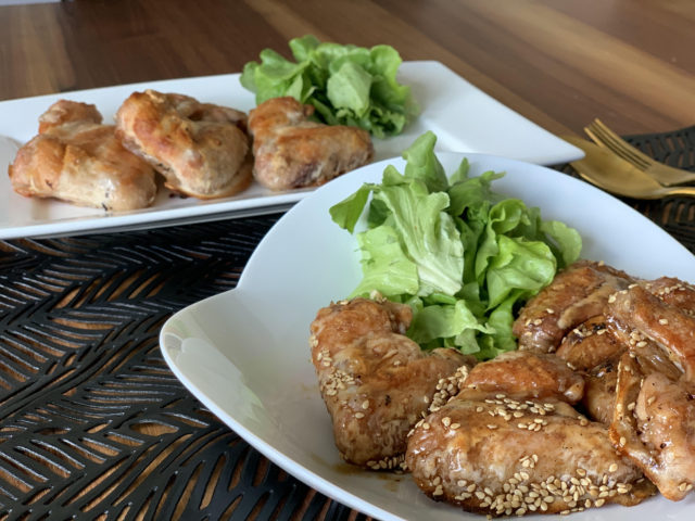 Karaage fried chicken wings (salt and sauce) from the oven